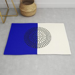 Abstract Sunrise Of Black Hole Sun. Navy Blue And Floralwhite Rug