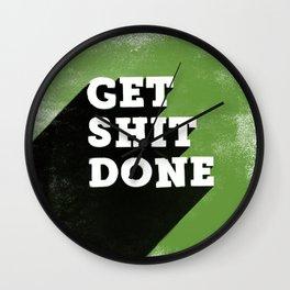 Get Shit Done Stencil Green Wall Clock