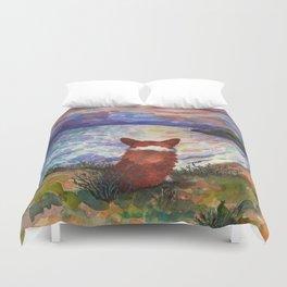 Corgi - sunset adorer Duvet Cover