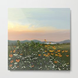 Field of Wildflowers Sunset Illustration Metal Print