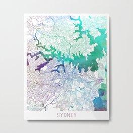 Sydney Map Watercolor by Zouzounio Art Metal Print