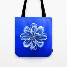 White Bloom on Blue Tote Bag