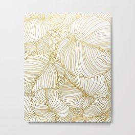 Wilderness Gold, Tropical Leaves Nature Line Art, Botanical Golden Minimal Graphic Drawing Metal Print