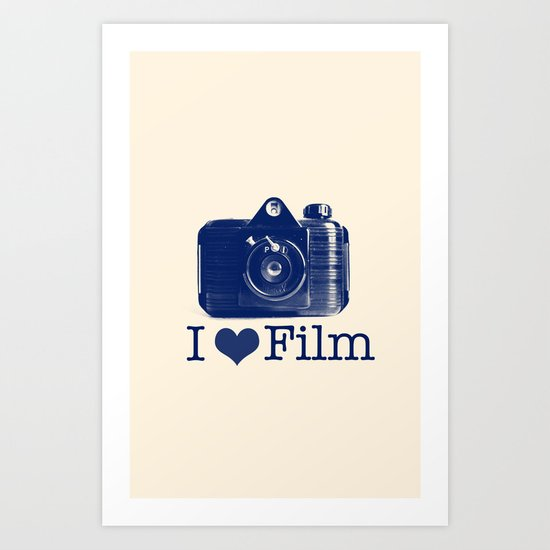 I ♥ Film (Blue/Peach) Art Print