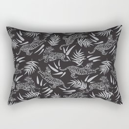 Tigers and Bamboos in the Dark / Big Cats, Leaves, Black Rectangular Pillow