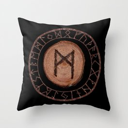 Mannaz - Wooden Celtic Rune of self, individuals, universe, family, loved ones, friends, devoted Throw Pillow