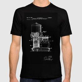 Espresso Machine Patent Artwork - White on Black T-shirt