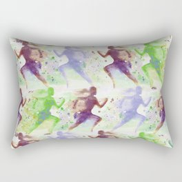 Watercolor women runner pattern Brown green blue Rectangular Pillow