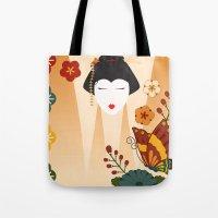 geisha Tote Bags featuring Geisha  by Ashley Hay