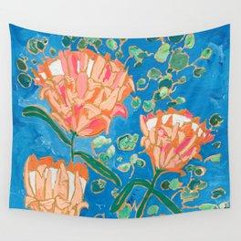 Four Orange Proteas Wall Tapestry
