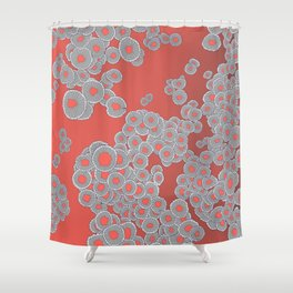 Wild Mushrooms in Living Coral Shower Curtain