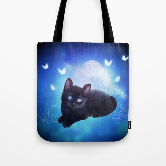 Cute little black kitten Tote Bag