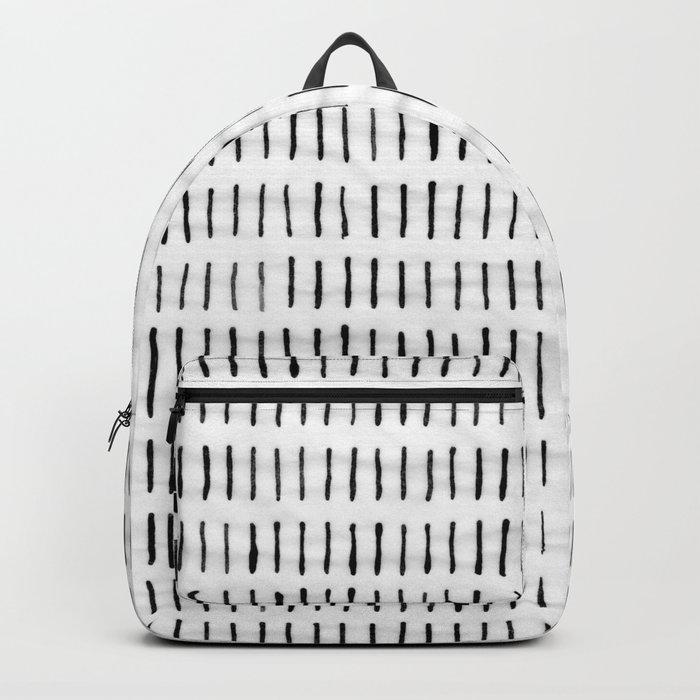 Black Ink Woodstock Pattern on White Backpack
