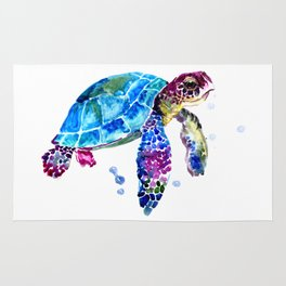Sea Turtle, Blue Purple Turtle illustration, Sea Turtle design Rug