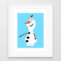 olaf Framed Art Prints featuring Olaf by Dewdroplet