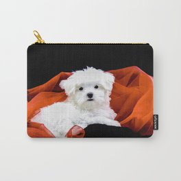 Lancelot the Maltese Puppy with Red Christmas Fabric Carry-All Pouch