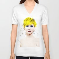 law V-neck T-shirts featuring J Law by André Joseph Martin
