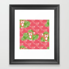 Foxes in the cherry orchard Framed Art Print