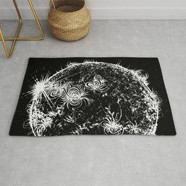 Large Sun Print, black & white solar design by Little Lark Rug