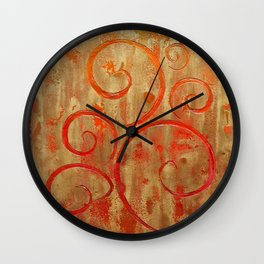 Pompeii Red (encaustic painting) Wall Clock