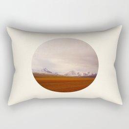 Prairie Meets Snow Mountain Landscape Round Photo Rectangular Pillow