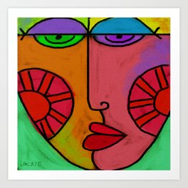 Colorful Abstract Digital Painting of a Face Art Print
