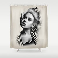lip Shower Curtains featuring Pulling Lip by BeckiBoos