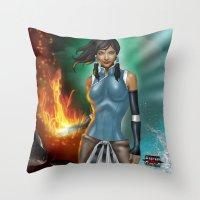 korra Throw Pillows featuring Korra by Steven H. Garcia