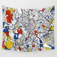 rome Wall Tapestries featuring Rome map by Mondrian Maps