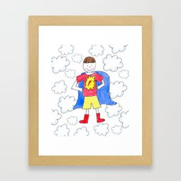 Super Hero Boy Brunette Framed Art Print