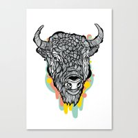 bison Canvas Prints featuring Bison by casiegraphics