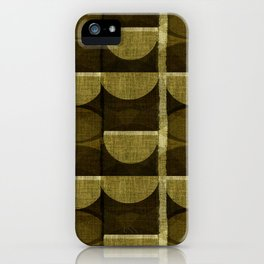 """""""Retro Olive green Chained Circles"""" iPhone Case"""