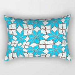 Spanish Tile Design In White And Turquoise Rectangular Pillow