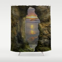 Perranporth Sunset, Cornwall, England, United Kingdom Shower Curtain
