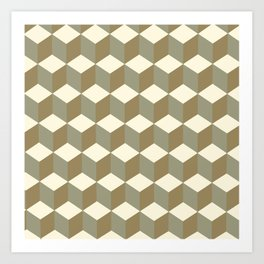 Diamond Repeating Pattern In Meerkat Brown and Grey Art Print