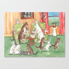 Tea with the Tabbies Canvas Print