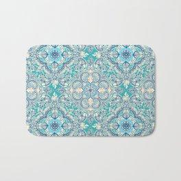 Gypsy Floral in Teal & Blue Bath Mat