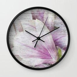 Magnolia Flower  on old wood Wall Clock