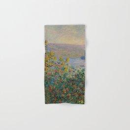 Flower Beds at Vétheuil, Claude Monet Hand & Bath Towel