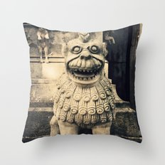 Pigeon over old statue Throw Pillow