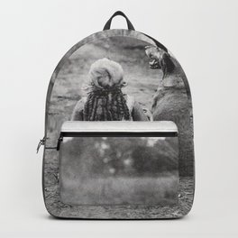 A Girl, Her Dog, and Her Horse wonderful black and white photograph - photography Backpack