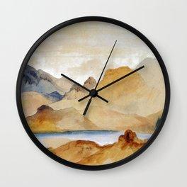 Cinnabar Mountain Yellowstone River Watercolour 1871 By Thomas Moran   Watercolor Reproduction Wall Clock