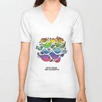 les mis V-neck T-shirts featuring Devuélveme mis pajaritos by Ju Tiscornia