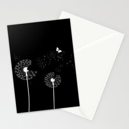 White Dandelions Butterfly Black Background Stationery Cards