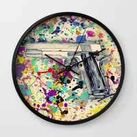 top gun Wall Clocks featuring Gun by Maressa Andrioli