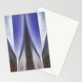 Architectural abstract of a metal clad building looming in symmetry. Stationery Cards