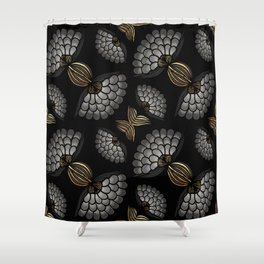 African Floral Motif on Black Shower Curtain