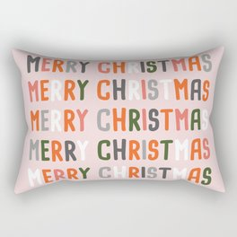Merry Christmas and Happy New Year text lettering card design, with decoration Rectangular Pillow