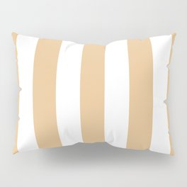 Gold (Crayola) pink - solid color - white vertical lines pattern Pillow Sham