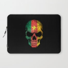 Dark Skull with Flag of Cameroon Laptop Sleeve